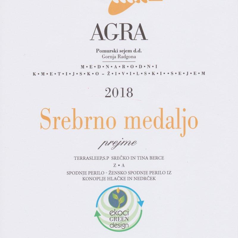 Srebrna medalja AGRA 2018 - konopljino spodnje perilo