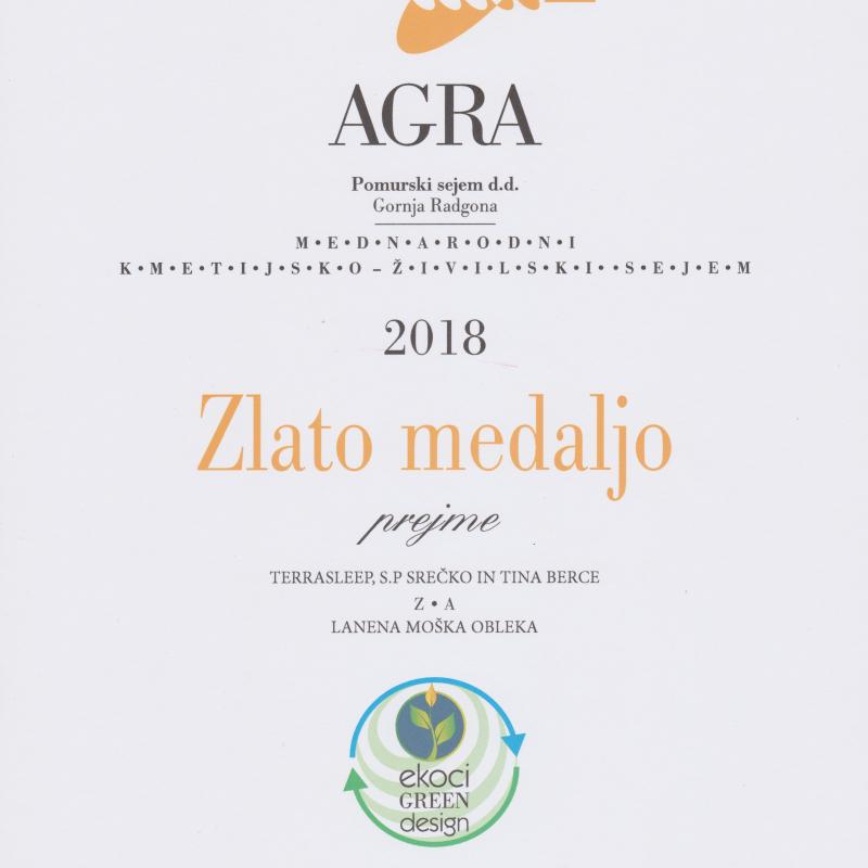 Zlata medalja AGRA2018 - moška obleka