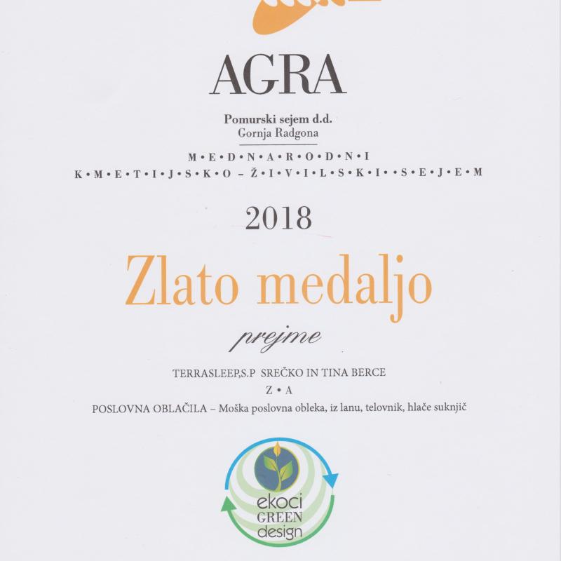 Zlata medalja AGRA 2018 - poslovna oblačila